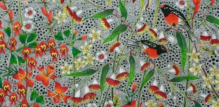 """Flornamental"" Art Gallery - Robins Artwork by Hilde Ranson"